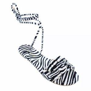 Liliana Zebra Black White Lace-Up Sandals